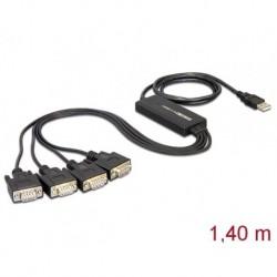 ADAPTER USB 2.0 SERIAL 4 X RS 232 DB9 DELOCK (USZKODZONE OPAKOWANIE)