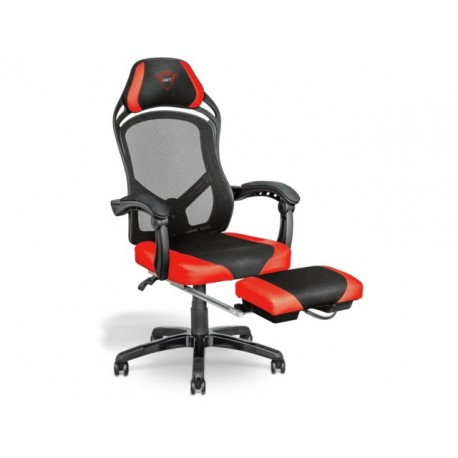Fotel gamingowy Trust GXT 706 Rona z podnóżkiem czarno-czerwony