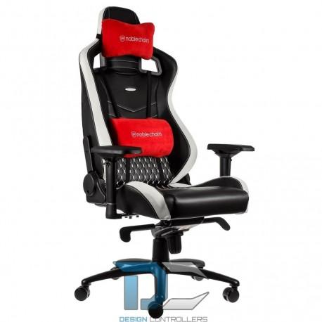 Fotel dla gracza Noblechairs EPIC Real Leather (czarno-biało-czerwony)